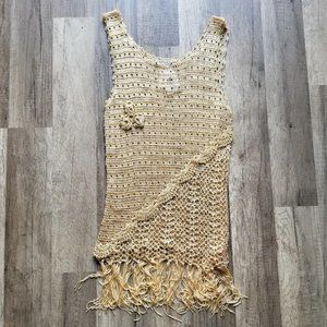 OHS Clothing Tops - Crochet tank with fringe NWT